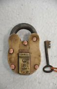 Old Brass And Iron Agrawal Co. No. 59 6 Levers Handcarfted Padlock Nice Patina