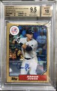 2017 Topps Chrome Silver 87 Aaron Judge Rookie Graded Bgs 9.5 W/ 10 Auto D/199