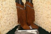 Casadei Brown Leather Suede Fringe And Chain Boots Rrp 1330 Us 6, Uk 5