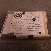 Newstampin Up Itand039s About Time Set 8 Wood Rubber Stamps Time Clock Gears Date