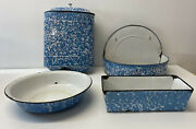 Early 20th Century Blue And White Graniteware Four Pieces W/ Lavabo Wash Set