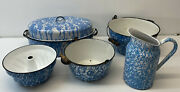 Early 20th Century Blue And White Graniteware W/ Bundt Pan Five Pieces