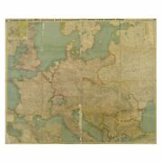 Antique Wwi Map Russian Empire Very Rare Original 1915 Fabric Duplicated Old