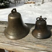 2 Antique Cast Bronze Small Ship Boat Bells With Original Clappers