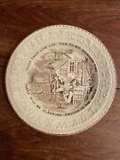 Early Us 19th Century Ben Franklin Abc Proverb Plate - Do Not Squander Time