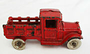 Vintage Kilgore T-6 Cast Iron Delivery Stake Truck Red 3 1/4 Disc Wheels 1930s