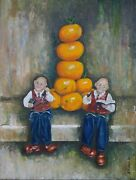 Toys Tangerines Still Life Painting Christmas Childrenand039s Kid Wall Decor Art Gift