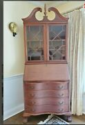 Useful Mahogany 1950's Secretary Desk, Drop Front And Glass Cabinet,4 Drawers, 84
