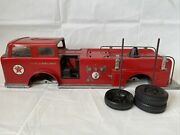 Vintage Pressed Steel 1960and039s Texaco Fire Chief Fire Truck U.s.a Made