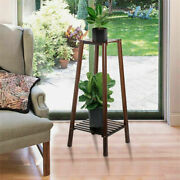 Wooden 2 Tier Tall Plant Stand Pot Holder Small Space Table Garden Planter Brown