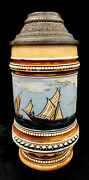 Antique Mettlach German Beer Stein .5 L Villeroy And Boch 1228.23 Titled Sailboats