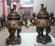 Old Red Copper Gold Gilt Two Dragon Play Bead Loong Phoenix Foo Dog Lion Censer