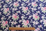 Antique Vintage Never Used Pink Floral On Navy French Silk C.1905l-72 X W-30