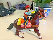 Vintage Old Haji Mark Cow Boy Horse With Gun Wind Up Litho Tin Toy Made In Japan