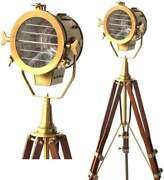 Vintage Old Century Modern Searchlight Nautical Lamp Timber Tripod Brass Antique