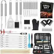 45 Pcs Bbq Grill Accessories Grill Tools Set Grill Stainless Steel Silver