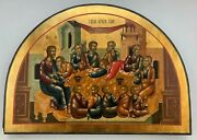Large Rare Antique20crussian Orthodox Hand Painted Icon Of The Last Supper Oval