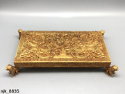Chinese Antique Handmade Copper Gilding Chiseling Pai Gow Long Teng World