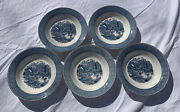 """Lot Of 5 Currier And Ives Blue Early Winter 8 1/2"""" Soup Salad Bowls By Royal Usa"""