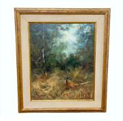 Vintage Signed Two Pheasant Birds In Forest Wooden Framed Painting