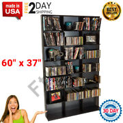 Dvd Cd Storage Book Shelf Trophy Media Tower Video Rack Picture Movie Cabinet