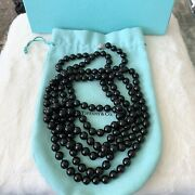 And Co. Silver Ziegfeld 10mm Black Onyx Bead Beads Ball 80andrdquo Necklace Pouch