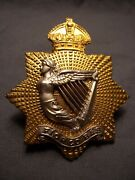 Irish Regiment Of Canada Wwii Officer Piper Cap Badge M163a Sterling Silver Gilt