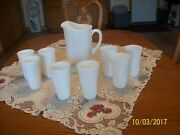 Milk Glass Raised Grape And Leaf Pattern Vintage Pitcher And 16 Glasses