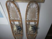 Vintage Rare Lund Snow Shoes Wood 10 X 56 Rawhide
