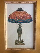 Old Vintage Fantastic Watercolor Of Studios Dagonfly Stained Glass Lamp