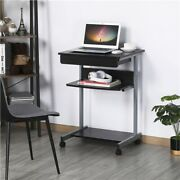 Rolling Small Spaces Computer Desk Corner Laptop Work Desk Printer Table Used