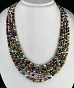Tourmaline Beads Necklace 5 L 633 Carats Multi Color Round Gemstone Silver Clasp