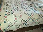 Vintage Tattered Quilt Cutter Bedspread Farmhouse Rustic Red White Bue