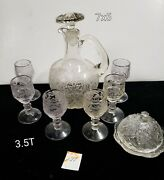 Beautiful Antique Etched Glass Decanter With Matching Small Glasses
