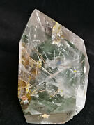 1932g Natural Green Ghost Stone Inclusions Cut Polished Obelisks 11.21-2