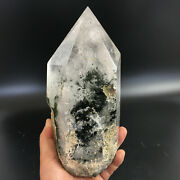 3570g Natural Green Ghost Stone Inclusions Cut Polished Obelisks 3.16-8