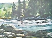 Francis Golden Artist-signed And Numbered Trout Fishing Lithograph Print 1980