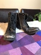 Steve Madden Troopa Black Leather Zip Lace Combat Military Boots Womens Sz 13 M