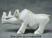 9.6 Old Chinese Liangzhu Culture White Jade Carved Rhinoceros Bull Oxen Statue