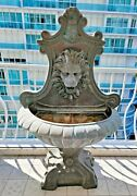 Large Architectural Bronze Fountain With Lions Head
