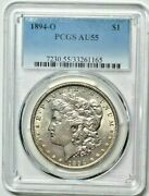 1894 O Morgan Silver Dollar Pcgs Au 55 Full White With Frosty Luster
