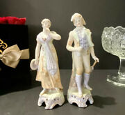 Pair Of Antique Porcelain Bisque Couple Figurines French Victorian Colonial Mint