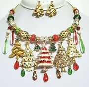 Vintage Jewelry Necklace Earrings Betsey Johnson Christmas Tree One Of A Kind