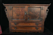 24 Old Chinese Huanghuali Wood Dynasty Carving Drawer Locker Cabinet Set Statue