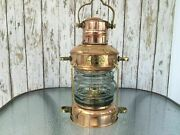 Vintage Brass And Copper Anchor Oil Lamp Marintime Oil Lamp Best Gift Item