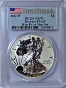 2013-w American Silver Eagle Reverse First Strike West Point 1 Pcgs Pr70dcam