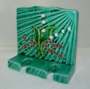 Majolica Pottery Ceramic Toothbrush Holder Lilly Of The Valley Floral 4 1/4