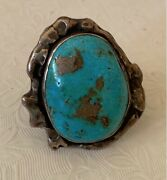 Men's Handcrafted Turquoise Ring Sterling Silver W/dove Marking Size Unknown