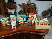 Tin Toy Lot Ted China, Japan Old Tin Windup Toys In Boxes Tin Toy Lot Robot