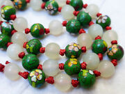 Chinese Antique Cloisonne White Green Jade 8mm Bead Necklace, 19
